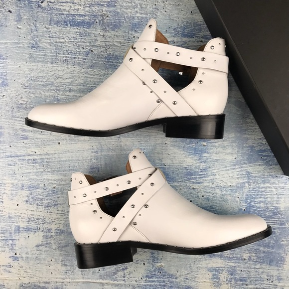 Halogen Shoes - NIB halogen hailey studded white leather booties